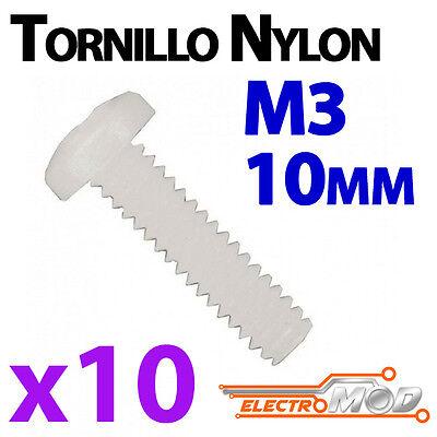 10x Tornillo nylon M3 10mm blanco estrella electrónica Arduino