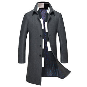 Mens Grey Single Breasted Winter Wool Coat New With Tags