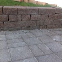 Concrete Rock wall and paving stones