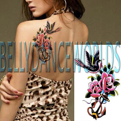 CUTE BIRD WITH PINK ROSE TEMPORARY TATTOO ARM LEG HIP CALF SHIN SHOULDER STICKER](Tattoos With Birds)