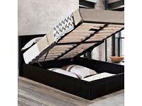 BRAND NEW DOUBLE OTTOMAN STORAGE BED FRAME - 3 COLORS --50% OFF