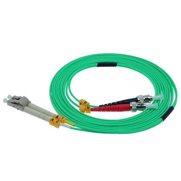 1m LC-ST 10Gb 50//125 OM3 M//M Duplex Fiber Optic Patch Network Cord Cable Aqua
