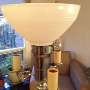 Floor lamp with marble base. Vintage