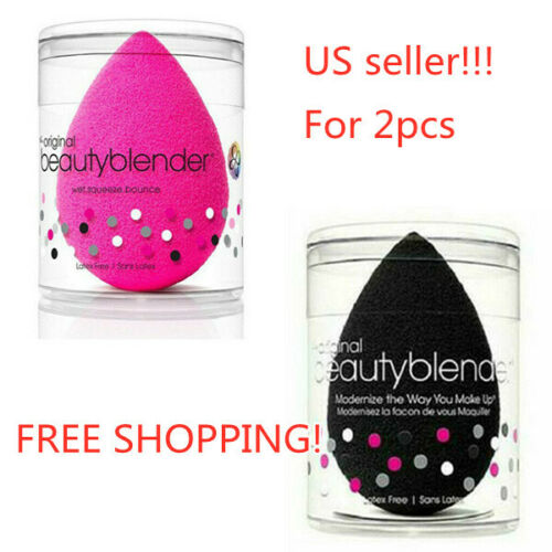 2PCS/set Original Beauty Blender Makeup Sponge Applicator Latex Free Pink/Black!