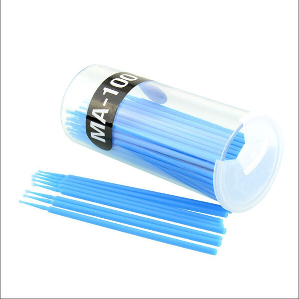 100Pcs Blue Disposable Brush Wands Swab Micro Brush Eyelashes Extension Tools