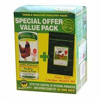 Verm-x Poultry Health Pack - Vermx Pellets 1 x 250 GM Plus Worm Count Kit