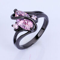Pink Sapphire lady's 10KT Black Gold Filled Rings