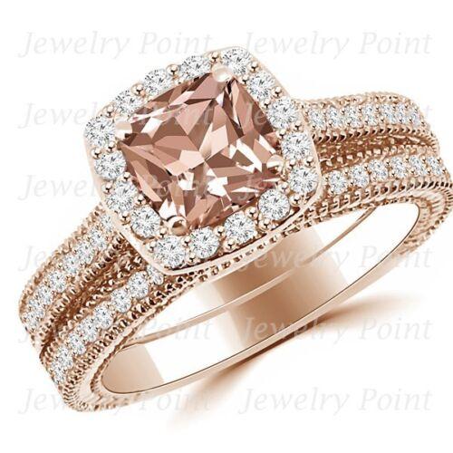 坐垫桃红色摩根石钻石光环订婚戒指套装玫瑰金