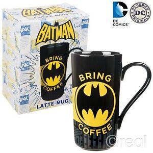 New DC Comics Batman Bring Coffee Latte Mug Tall Cup Retro Logo Signal Official