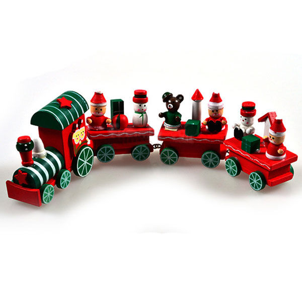 Hot Cute 4 Piece Wood Wooden Christmas Train Ornament Decoration Decor Gift