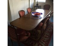 Dining table and 6 chairs (ercol)