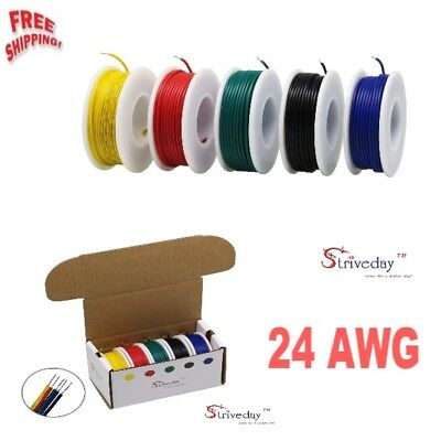 Striveday™ 24 AWG Hook Up Electric Wire 1007 PVC Solid wire Kit box 24 Gauge NEW