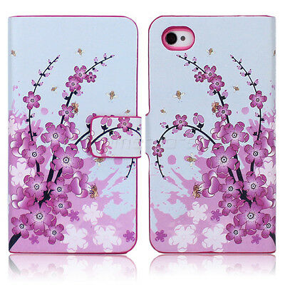 Pink Flower For iPhone 4G 4S Wallet Purse Handbag Flip Leather Case Cover Stand on Rummage