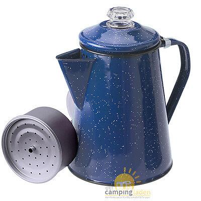 GSI Emaillierte Kaffeekanne 8 Tassen Perkolator Outdoorkanne Teekanne blau