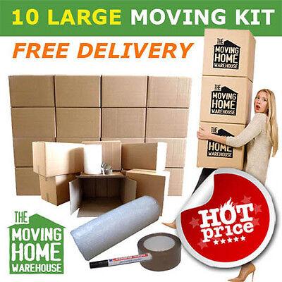 House Moving Boxes - (10 Large Boxes + Free Bubble wrap + Tape + Marker pen)
