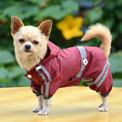US Pet Rain Coat for Small Puppy Dogs Jacket Casual Waterpro