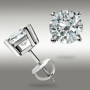 1.00 CT ROUND CUT 14K WHITE GOLD STUD EARRINGS SCREW BACK 5MM Great Holiday Gift