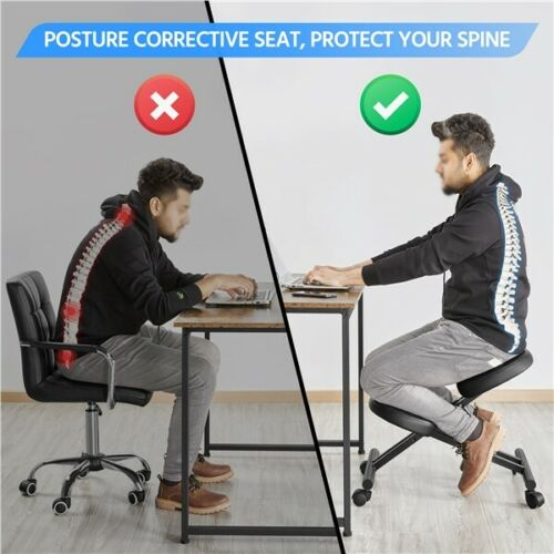 Adjustable Ergonomic Kneeling Chair Posture Chair Stool for Home Office Black 5