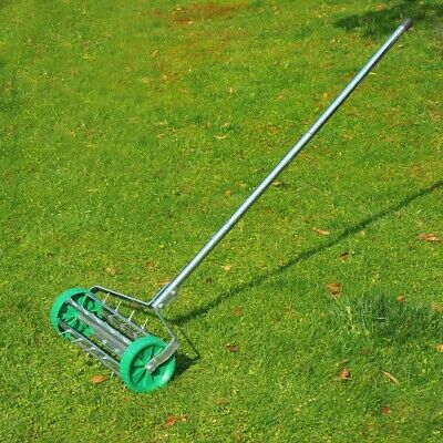 Garden Push Lawn Grass Aerator Roller 5Spike Machine Soil Yard Rotary Outdoor