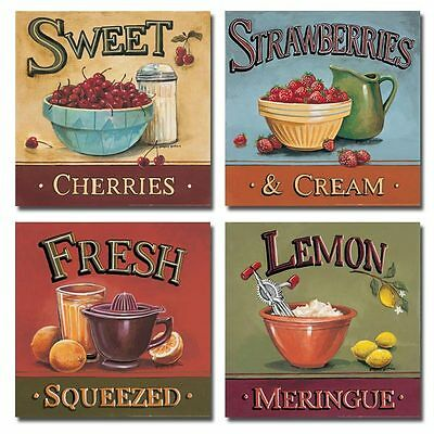 4 Refreshing Fruit Kitchen Art Prints Sweet Cherries Strawberries Lemons 12x12 on Rummage
