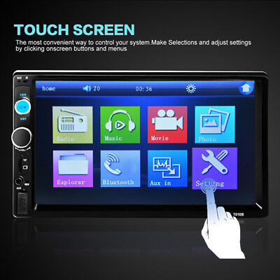 "7"" Rear View 2din HD Digital Touch Screen Radio Bluetooth FM MP5 Player Fashion"
