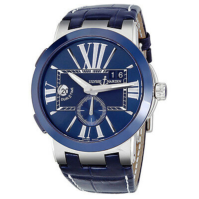 Ulysse Nardin Executive Dual Time Automatic Blue Dial Mens Watch 243-00-43