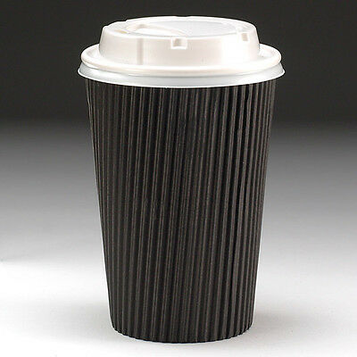 12oz Kraft Black Disposable Ripple Coffee Tea Takeaway Cups (Case of 200)
