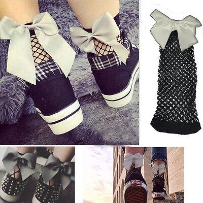 1-4 Pairs Black/Grey Bow Diamond Fishnet Over Ankle Hi Socks Satin Bow Accent OS