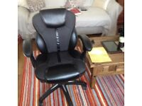 Black leather look office chair very good condition