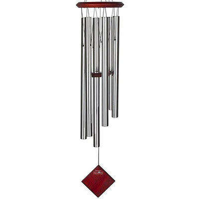 Woodstock Earth Chime Silver Large Wind Chime Encore Dark Wood Finish