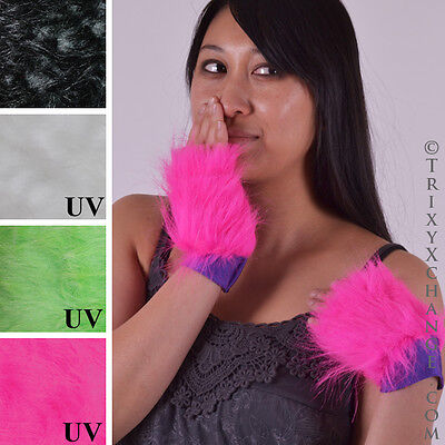 Furry Cheshire Cat Costume (Womens Cheshire Cat Costume Pink Faux Fur Gloves Short Arm Cuffs Furries Psy)