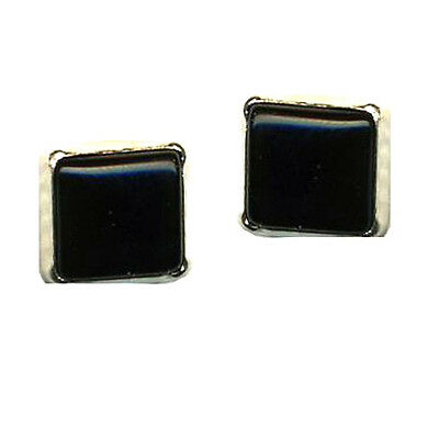 Sterling Silver Square Post Earrings Genuine Onyx 8 mm Spiritual Inspiration