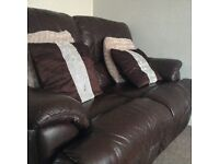 Brown 2 seater recliner sofa