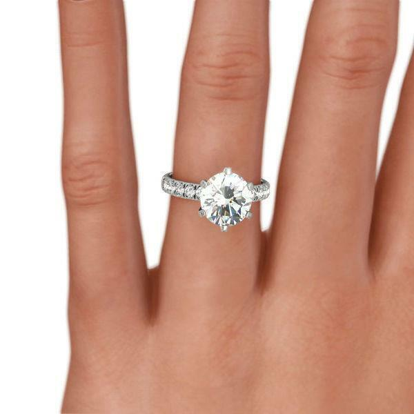 2 Carats Round Diamond Ring 18 Kt White Gold Certified 6 Prong Size 4 1/2 - 9