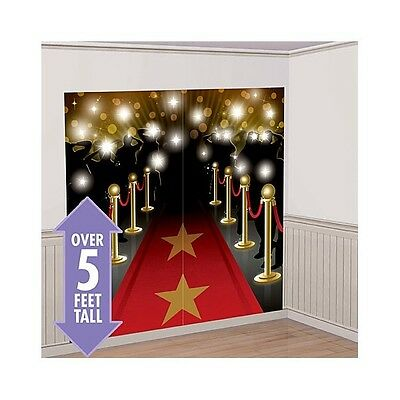 RED CARPET HOLLYWOOD SCENE SETTER Happy Birthday Party Wall Decoration Decor kit
