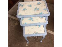 Shabby chic nest of tables with blue flowers