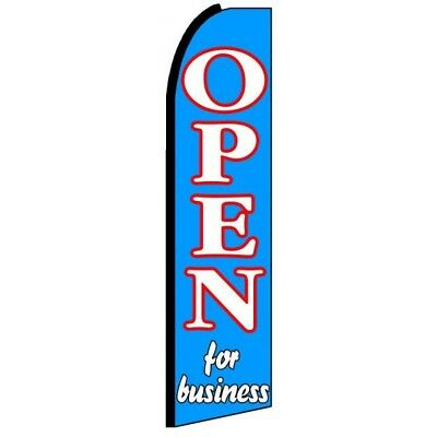 Open For Business Half Curve Premium Wide Swooper Flag