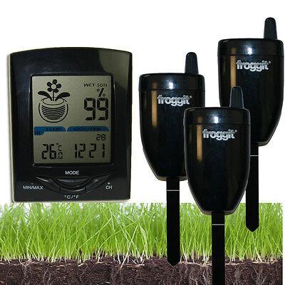 Funk Gießanzeiger Feuchtemesser 3 Sensoren Blumen Gewächshaus Temperatur