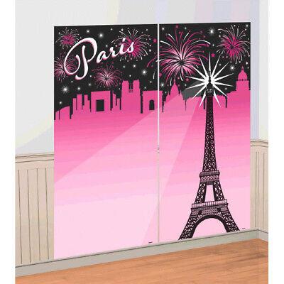 PARIS SCENE SETTER Wall Photo Backdrop Party Decorations Eiffel Tower Pink Black