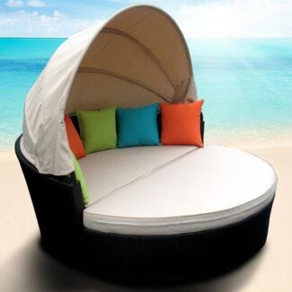 Outdoor 2 Pce Day Bed with Canopy Sun Lounge Wicker Rattan Nerang Gold Coast West Preview