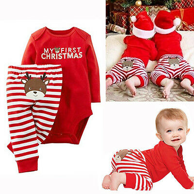 USA Xmas Newborn Baby Boys Girls Romper Jumpsuit Bodysuit+Pants Clothes Outfit