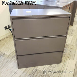Dark Grey Meridian 3 Drawer Lateral File Cabinet, Grade B