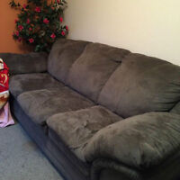 Microsuede grey couch