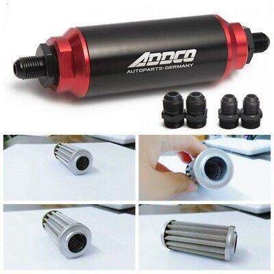 - UNIVERSAL RACING 40 MICRON IN-LINE FUEL FILTER  WITH AN 6 8 10 FITTINGS ADAPTERS