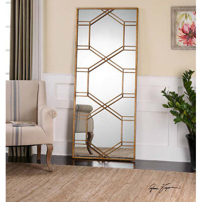 """Large Geometric Gold Metal Floor Wall Mirror XL 70"""" Contempo"""
