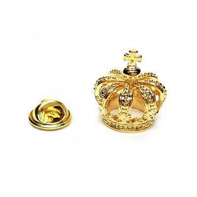 3D Goldfarbene Detailliert Krone Metall Anstecknadel Royalty King Queen AJTP460