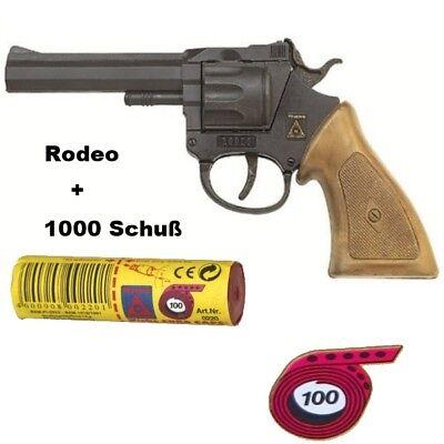 RODEO Western Knall-Pistole mit 1000 Schuß Munition Kinder Spielzeug Revolver