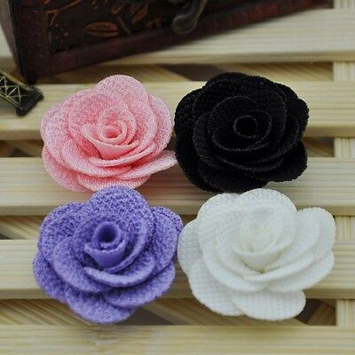10/20/100 Pcs Ribbon Flowers Wedding Decor Sewing Appliques DIY Crafts A0119 - Diy Ribbon Flowers