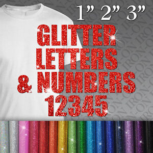 custom glitter letters numbers iron on fabric t shirt