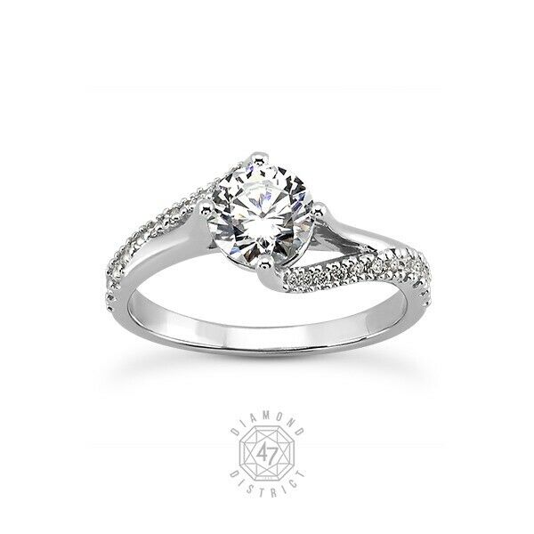 1.10ct Tw I-si3 Round Cut Natural Certified Diamonds 14k Gold Side-stone Ring